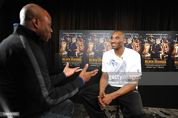 Host Kevin Frazier talks to Kobe Bryant about the new movie trailer for Black Mamba during the Nike Event on January 30 2011 in Los Angeles...