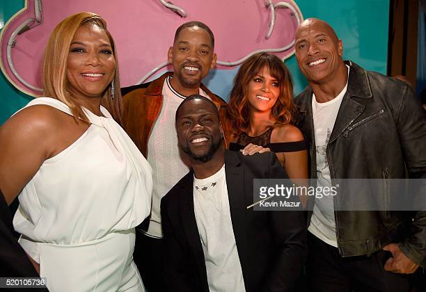 Host Kevin Hart and rapper/actress Queen Latifah honoree Will Smith actress Halle Berry and host Dwayne Johnson attend the 2016 MTV Movie Awards at...