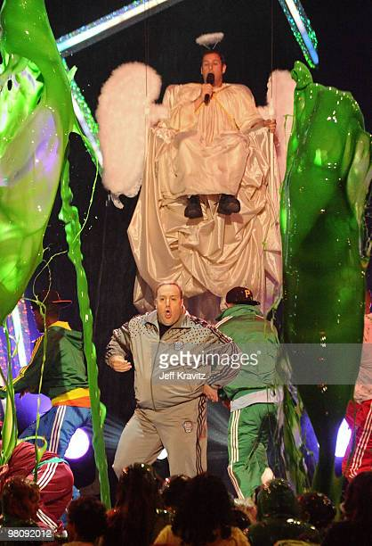 Host Kevin James and actor Adam Sandler onstage at Nickelodeon's 23rd Annual Kids' Choice Awards held at UCLA's Pauley Pavilion on March 27 2010 in...