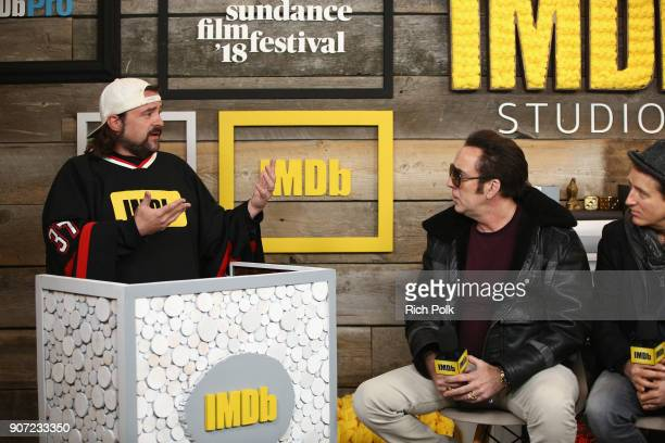 Host Kevin Smith, actors Nicolas Cage and Linus Roache of 'Mandy' attend The IMDb Studio and The IMDb Show on Location at The Sundance Film Festival...