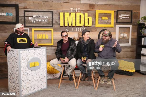 Host Kevin Smith, actors Nicolas Cage, Linus Roache and director Panos Cosmatos of 'Mandy' attend The IMDb Studio and The IMDb Show on Location at...