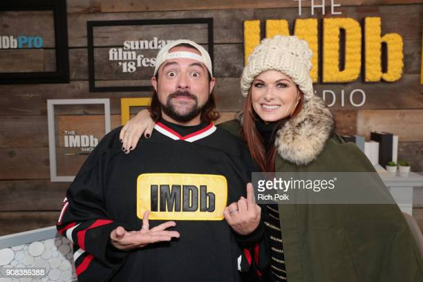 Host Kevin Smith and actor Debra Messing from 'Search' attend The IMDb Studio and The IMDb Show on Location at The Sundance Film Festival on January...