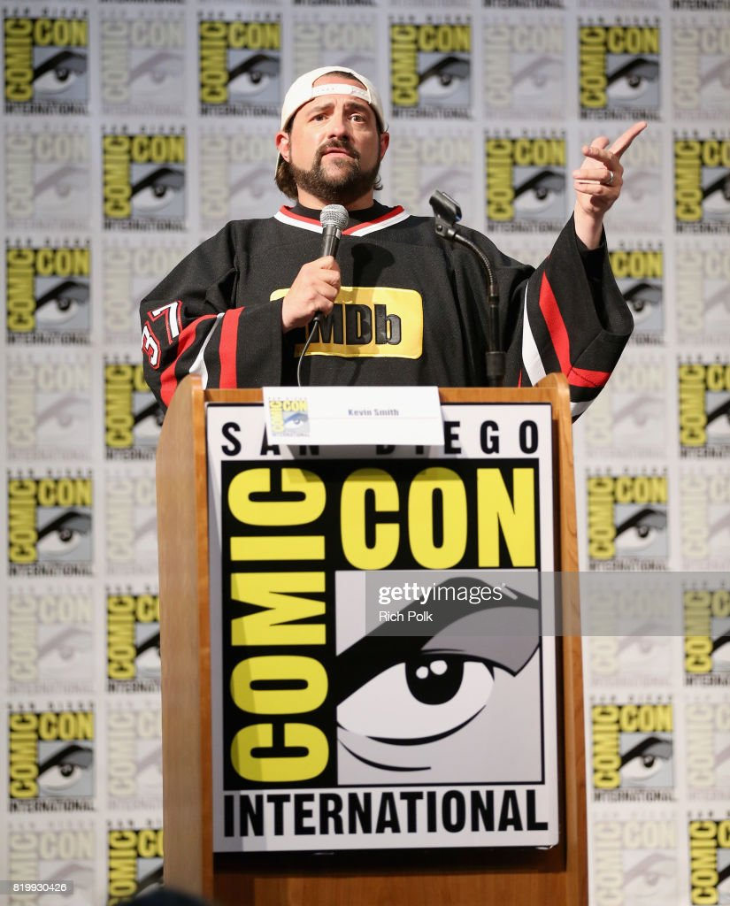 col needham founder ceo of imdb judges the comixology movie  host kevin smith speaks onstage at the comixology movie trivia panel at san diego comic