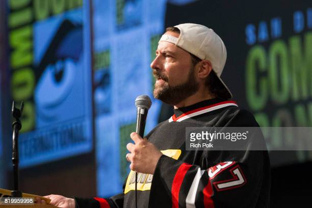 Host Kevin Smith speaks onstage at the ComiXology Movie Trivia Panel at San Diego ComicCon 2017 on July 20 2017 in San Diego California