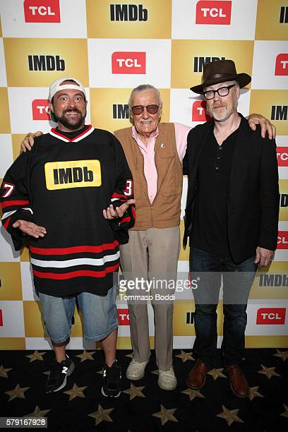 Host Kevin Smith writer Stan Lee and producer Adam Savage attend the IMDb Yacht Party Presented By TCL at on July 22 2016 in San Diego California