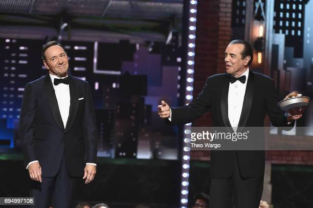 Host Kevin Spacey and Chazz Palminteri speak onstage during the 2017 Tony Awards at Radio City Music Hall on June 11 2017 in New York City