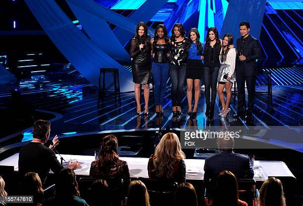 Host Khloe Kardashian Odom contestant Fifth Harmony and host Mario Lopez onstage at FOX's 'The X Factor' Season 2 Top 12 Live Performance Show on...
