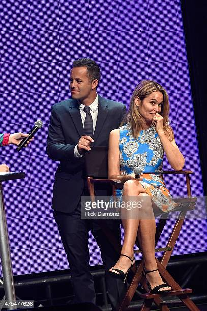 Host Kirk Cameron and wife actress Chelsea Noble speak onstage during the 3rd Annual KLOVE Fan Awards at the Grand Ole Opry House on May 31 2015 in...