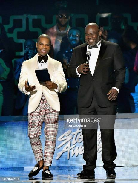 Host Kirk Franklin and David Mann speak during the 33rd annual Stellar Gospel Music Awards at the Orleans Arena on March 24 2018 in Las Vegas Nevada