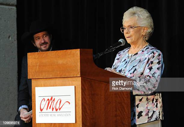 Host Kix Brooks looks on as Jean Shepard HOF Inductee gives thanks for her honor at The CMA Announcement of Bobby Braddock Reba McEntire and Jean...