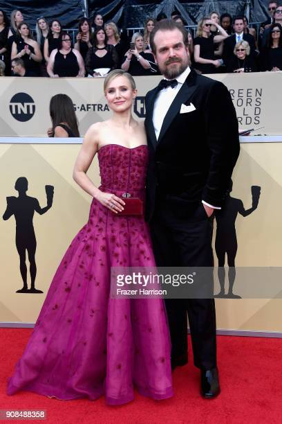 Host Kristen Bell and actor David Harbour attend the 24th Annual Screen Actors Guild Awards at The Shrine Auditorium on January 21 2018 in Los...