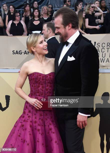 Host Kristen Bell and actor David Harbour attend the 24th Annual Screen ActorsGuild Awards at The Shrine Auditorium on January 21 2018 in Los...