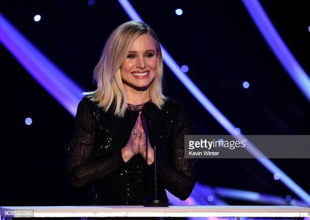Host Kristen Bell speaks onstage during the 24th Annual Screen Actors Guild Awards at The Shrine Auditorium on January 21 2018 in Los Angeles...