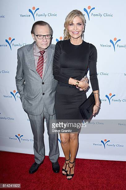 Host Larry King and Shawn King attends the Venice Family Clinic Silver Circle Gala 2016 honoring Brett Ratner and Bill Flumenbaum at The Beverly...