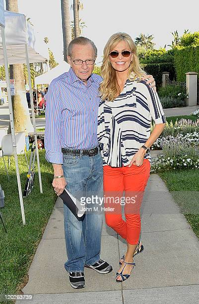 TV Host Larry King and singer Shawn King host the Beverly Hills Police Department's 'A National Night Out' on Hillcrest Drive on August 2 2011 in...
