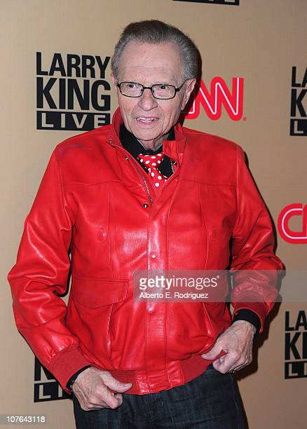 """Host Larry King arrives at CNN's """"Larry King Live"""" final broadcast party at Spago restaurant on December 16, 2010 in Beverly Hills, California."""