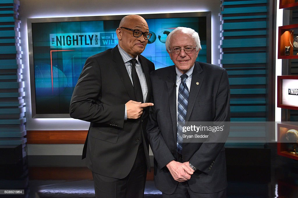 Host Larry Wilmore and Senator Bernie Sanders attend Comedy Central's 'The Nightly Show With Larry Wilmore' on January 5, 2016 in New York City.