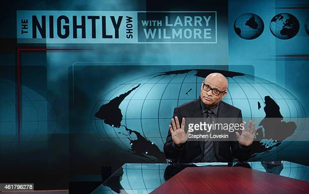 Host Larry Wilmore appears on the debut episode of Comedy Central's 'The Nightly Show with Larry Wilmore' at The Nightly Show Studios on January 19...