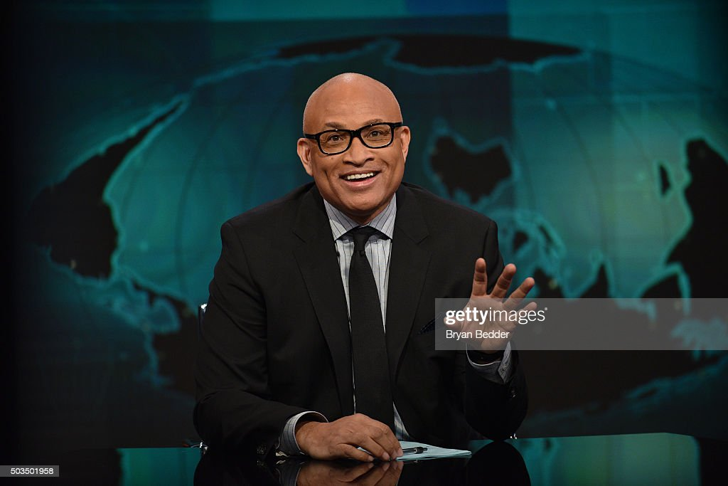 Host Larry Wilmore on 'The Nightly Show With Larry Wilmore' on January 5, 2016 in New York City.