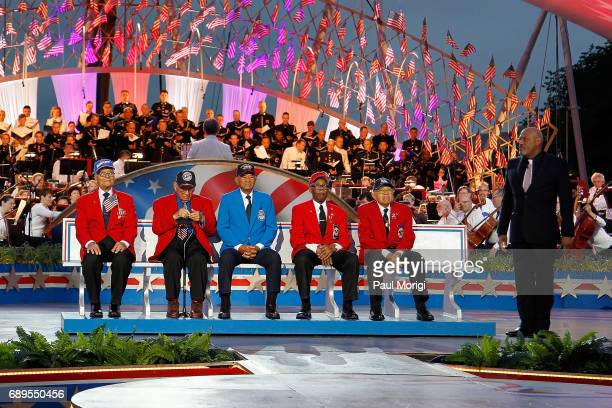 Host Laurence Fishburne pays tribute to members of The Tuskegee Airmen at PBS' 2017 National Memorial Day Concert at US Capitol West Lawn on May 28...