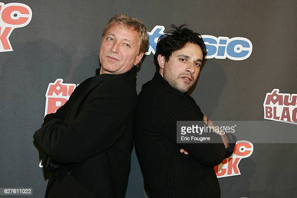 TV host Laurent Boyer and humorist Bruno Salomone arrive at the launching of the new TV channels 'M6 Music Rock' and 'M6 Music Black'