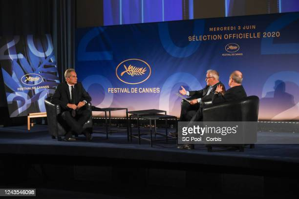 TV host Laurent Weil Cannes Film Festival director Thierry Fremaux and President of the Cannes Film Festival Pierre Lescure attend the 73rd Cannes...