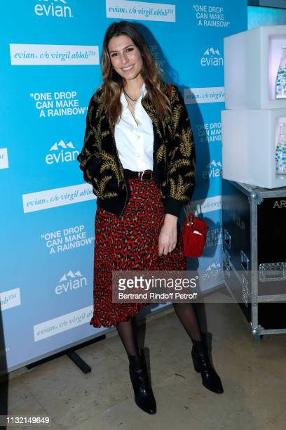 "Host Laury Thilleman attends the launch of Evian and Virgil Abloh's limitededition ""One Drop can make a Rainbow"" collection at Theatre National de..."