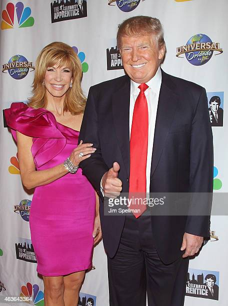 TV host Leeza Gibbons and businessman/tv personality Donald Trump attend The Celebrity Apprentice season finale at Trump Tower on February 16 2015 in...