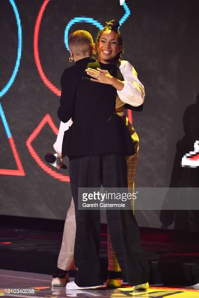 Host Leona Lewis and Adwoa Aboah on stage during WE Day UK 2020 at The SSE Arena Wembley on March 04 2020 in London England