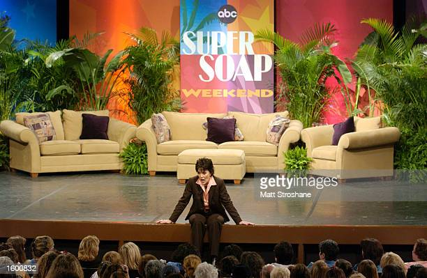 Host Linda Dano from 'One Life to Live' talks to the audience during the 'Super Soap Talk Show' during ABC's Super Soap Weekend at Disney's MGM...