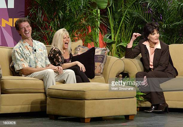 Host Linda Dano talks with James DePaiva and Ilene Kristen from' One Life to Live' during the 'Super Soap Talk Show' during ABC's Super Soap Weekend...
