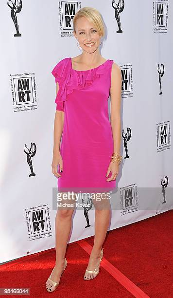 TV host Lindsay Soto arrives at the American Women in Radio Television Southern California 2010 Genii Awards at Skirball Cultural Center on April 14...