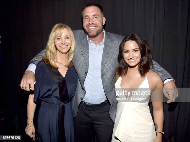 Host Lisa Kudrow Mike Bayer and honoree Demi Lovato attend UCLA Semel Institute's 'Open Mind Gala' at The Beverly Hilton Hotel on March 22 2017 in...