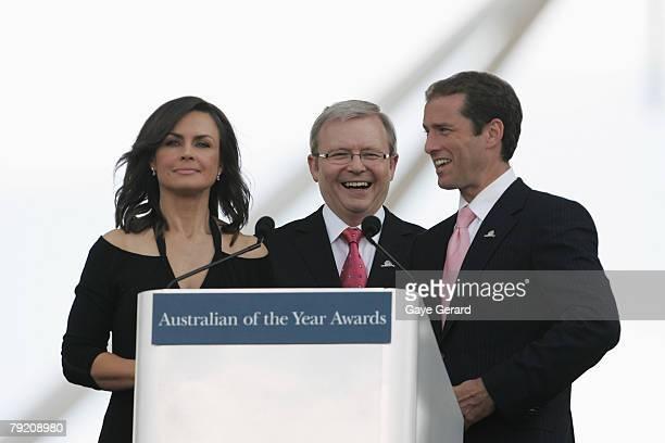 Host Lisa Wilkinson Prime Minister Kevin Rudd and TV Host Karl Stefanovic speak during the 2007 Australian Of The Year Awards on the Lawns of...