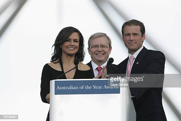 Host Lisa Wilkinson Prime Minister Kevin Rudd and TV Host Karl Stefanovic during the 2007 Australian Of The Year Awards on the Lawns of Parliament...