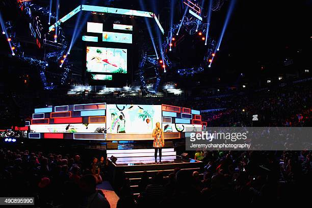 Host Liz Trinnear speaks during WE Day Toronto at the Air Canada Centre on October 1 2015 in Toronto Canada