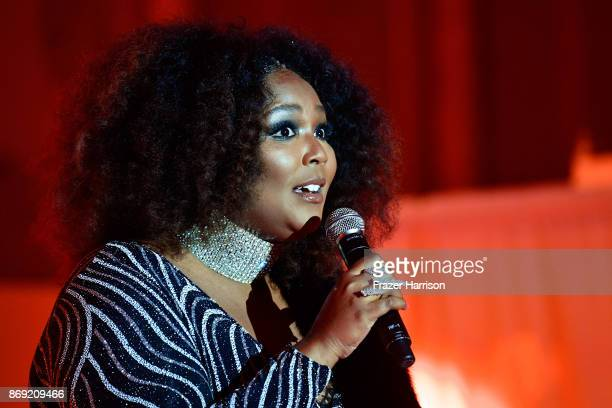 Host Lizzo speaks onstage during Spotify's Inaugural Secret Genius Awards hosted by Lizzo at Vibiana on November 1 2017 in Los Angeles California