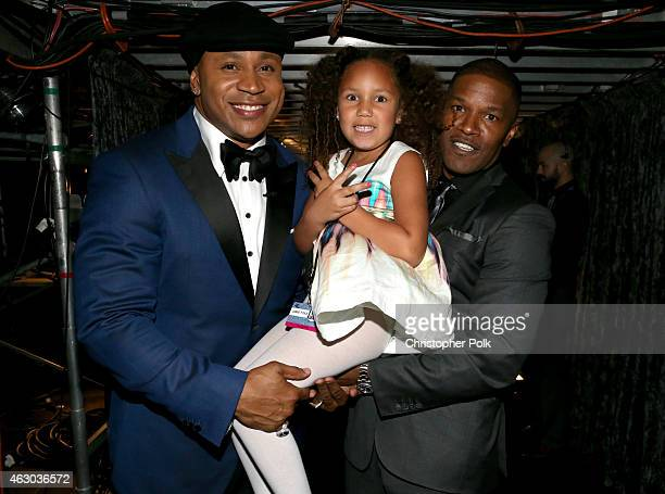 Host LL Cool J Annalise Bishop and actor Jamie Foxx attend The 57th Annual GRAMMY Awards at STAPLES Center on February 8 2015 in Los Angeles...
