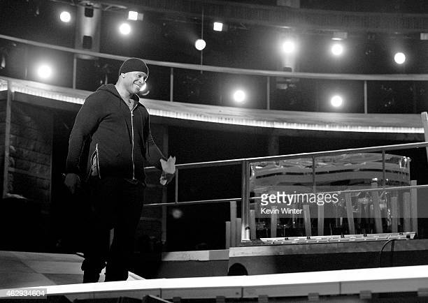Host LL Cool J rehearses onstage during The 57th Annual GRAMMY Awards at the Staples Center on February 7 2015 in Los Angeles California