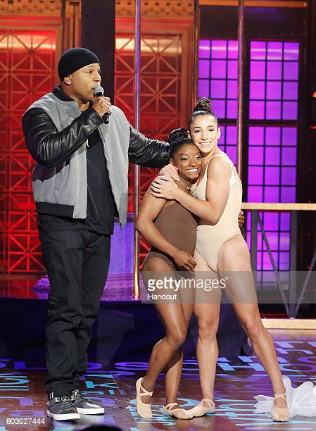 Host LL Cool J Simone Biles and Aly Raisman perform onstage during Spike TV's Lip Sync Battle All Stars Live on September 11 2016 in Studio City...