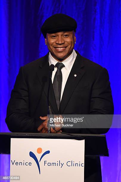 Host LL Cool J speaks onstage during the Venice Family Clinic's Silver Circle Gala at Regent Beverly Wilshire Hotel on March 9 2015 in Beverly Hills...