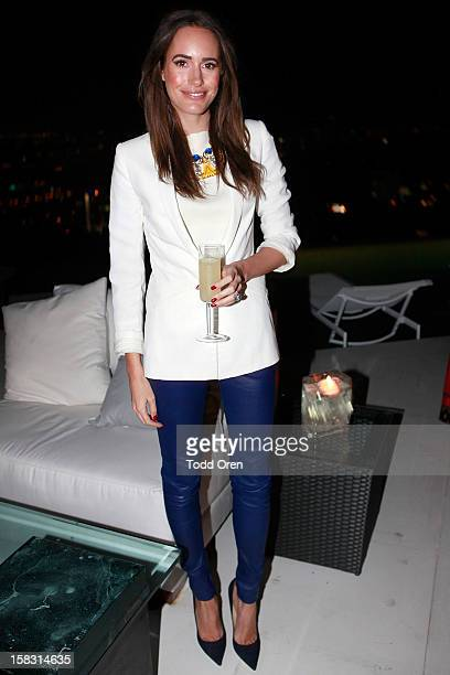 Host Louise Roe poses at the Hukkster Holiday Party at a Private Residence on December 12 2012 in Los Angeles California