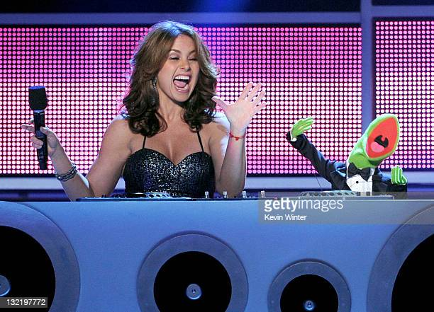 Host Lucero and Kermit the Frog speak onstage during the 12th annual Latin GRAMMY Awards at the Mandalay Bay Events Center on November 10 2011 in Las...