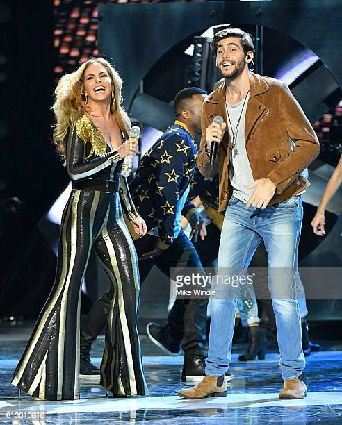 Host Lucero and recording artist Alvaro Soler perform onstage during the 2016 Latin American Music Awards at Dolby Theatre on October 6 2016 in...