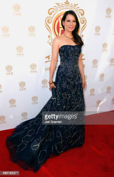 Host Lucy Liu attends the Huading Film Awards on June 1, 2014 at Ricardo Montalban Theatre in Los Angeles, California. Huading Film Awards is China's...