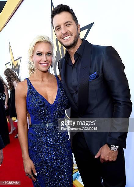Host Luke Bryan and Caroline Boyer attend the 50th Academy of Country Music Awards at ATT Stadium on April 19 2015 in Arlington Texas