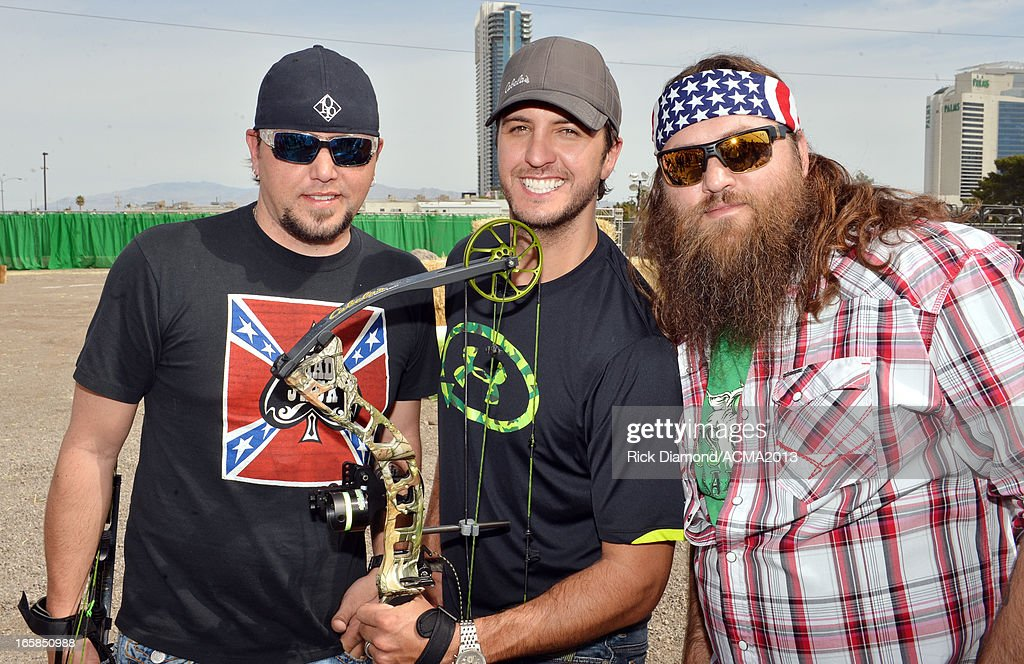 Host Luke Bryan, singer Jason Aldean and Willie Robertson of Duck Dynasty attend the 48th Annual Academy Of Country Music Awards Archery Event at The Orleans on April 6, 2013 in Las Vegas, Nevada.