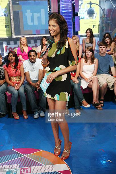 Host Lyndsey Rodrigues appears onstage during MTV's Total Request Live at the MTV Times Square Studios on July 21 2008 in New York City