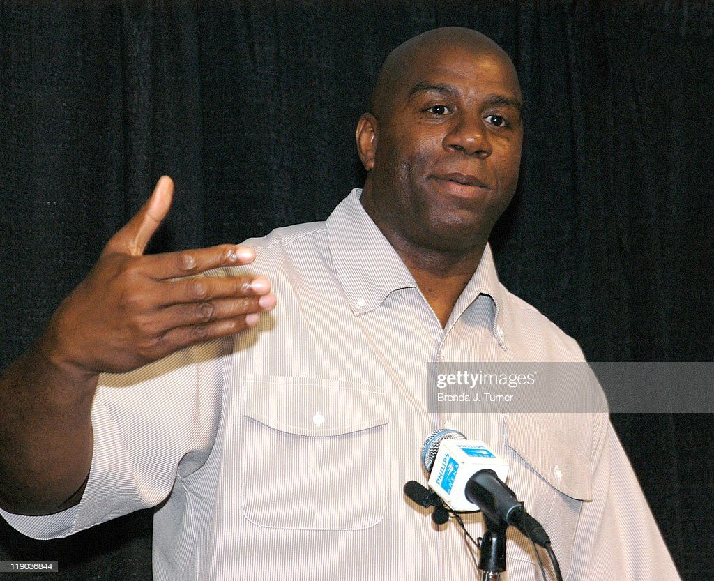 Host Magic Johnson addresses the media at the Mega Fest 2004 event commentated by former NFL star Michael Irvin, and featuring all star-guest players from the sports, entertainment and spiritual communities, including Deion Sanders, Jayson Williams and Avery Johnson. Event held at Philips Arena