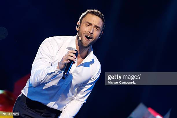 Host Mans Zelmerlow performs at the Ericsson Globe on May 14, 2016 in Stockholm, Sweden.